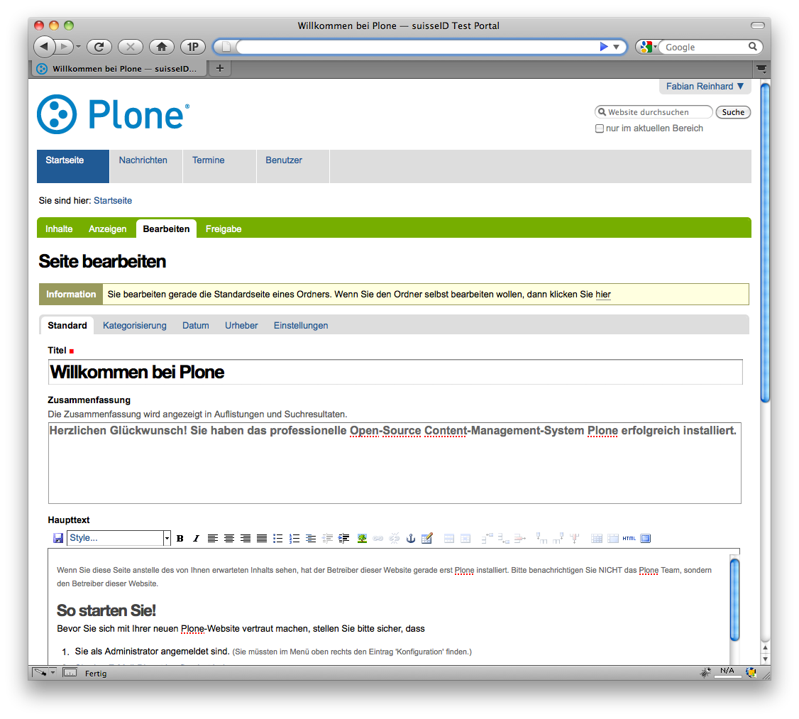 SuisseID Plone Logged in
